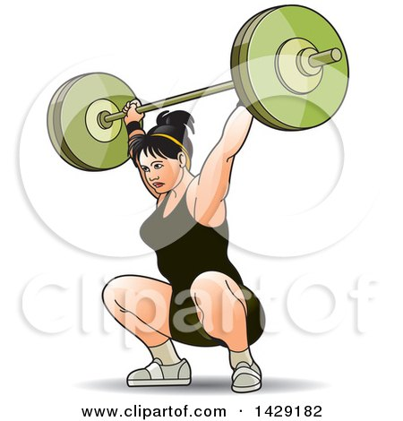Clipart of a Woman Doing Barbell Squats - Royalty Free Vector Illustration by Lal Perera