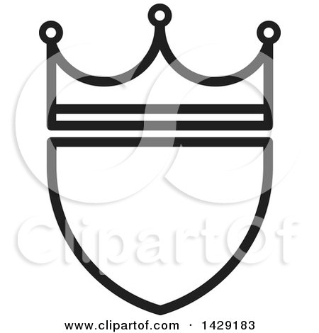 Clipart of a Black and White Crowned Shield - Royalty Free Vector Illustration by Lal Perera
