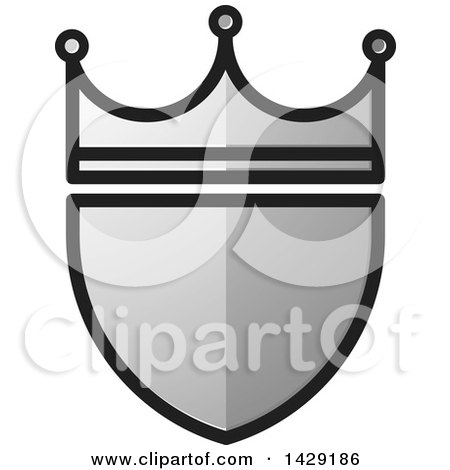 Clipart of a Silver Crowned Shield - Royalty Free Vector Illustration by Lal Perera