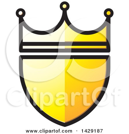 Clipart of a Yellow Crowned Shield - Royalty Free Vector Illustration by Lal Perera