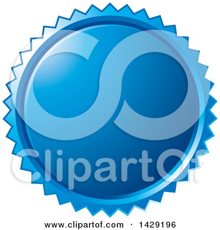 Clipart of a Blue Burst Badge - Royalty Free Vector Illustration by Lal Perera