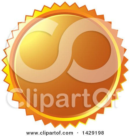 Clipart of an Orange Burst Badge - Royalty Free Vector Illustration by Lal Perera