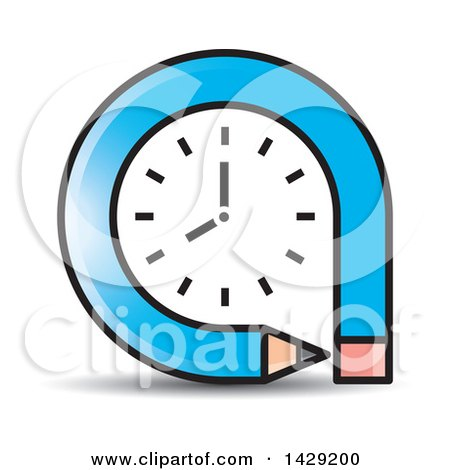Clipart of a Blue Pencil Clock - Royalty Free Vector Illustration by Lal Perera