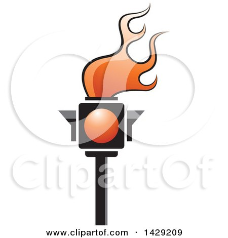 Clipart of a Red Traffic Light Torch - Royalty Free Vector Illustration by Lal Perera