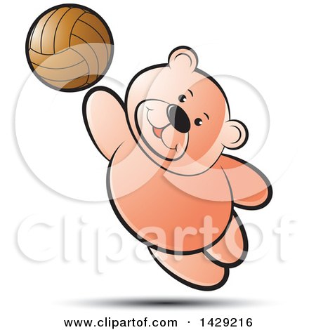 Clipart of a Bear Playing Volleyball - Royalty Free Vector Illustration by Lal Perera