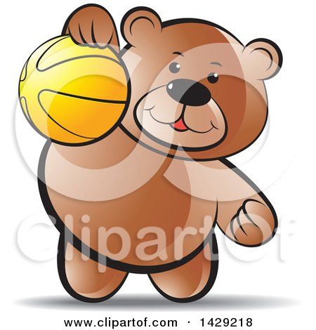 Clipart of a Bear Playing with a Ball - Royalty Free ...