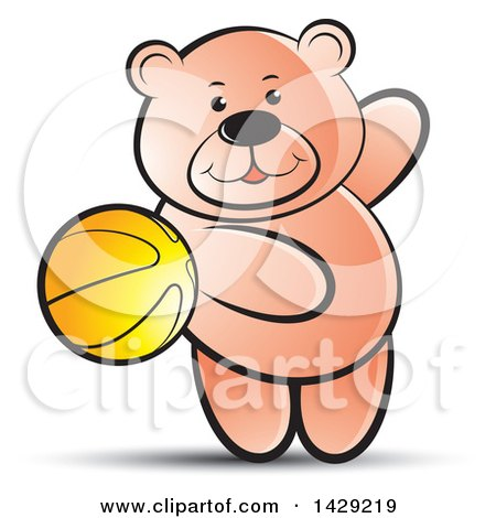 Clipart of a Bear Playing with a Ball - Royalty Free Vector Illustration by Lal Perera