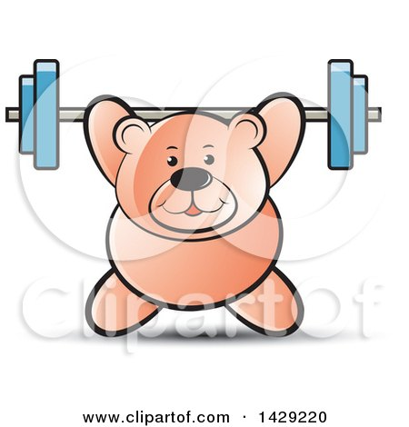 Clipart of a Bear Working out with a Barbell - Royalty Free Vector Illustration by Lal Perera
