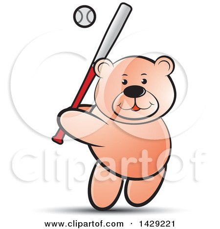 Clipart of a Bear Batting in a Baseball Game - Royalty Free Vector Illustration by Lal Perera