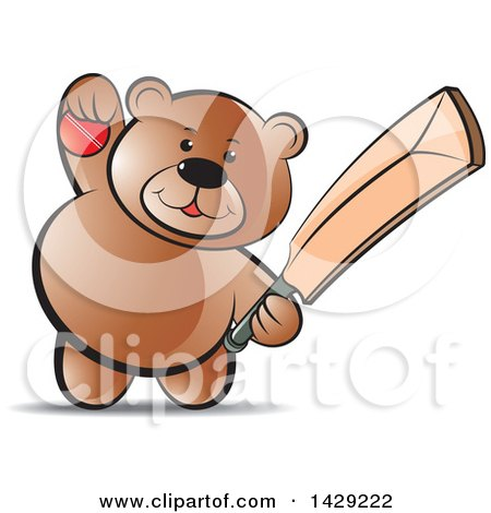 Clipart of a Bear Holding a Cricket Ball and Bat - Royalty Free Vector Illustration by Lal Perera