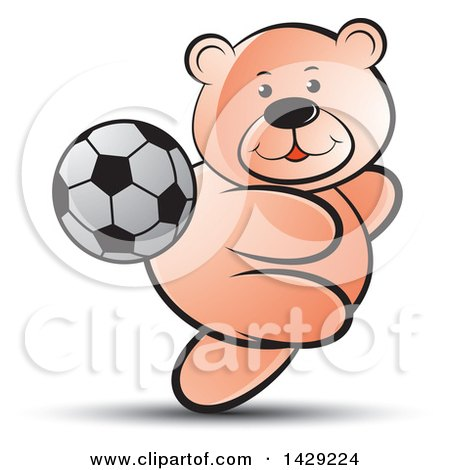 Clipart of a Bear Playing Soccer - Royalty Free Vector Illustration by Lal Perera