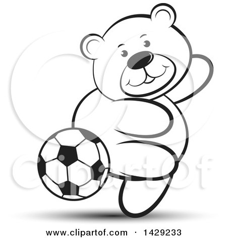 Clipart of a Black and White Bear Playing Soccer - Royalty Free Vector Illustration by Lal Perera