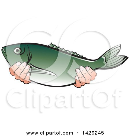 Clipart of Hands Holding a Fish - Royalty Free Vector Illustration by Lal Perera
