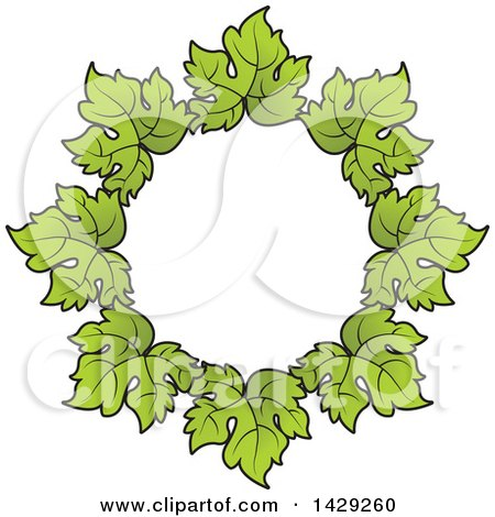 Clipart of a Wreath of Grape Leaves - Royalty Free Vector Illustration by Lal Perera