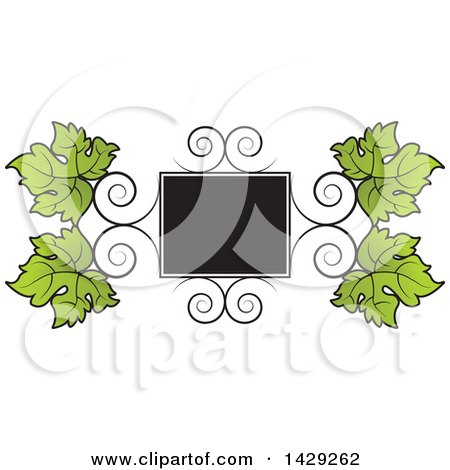 Clipart of a Frame of Swirls and Grape Leaves - Royalty Free Vector Illustration by Lal Perera
