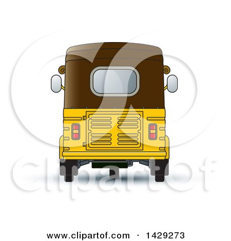 Clipart of a Rear View of a Three Wheeler Vehicle - Royalty Free Vector Illustration by Lal Perera