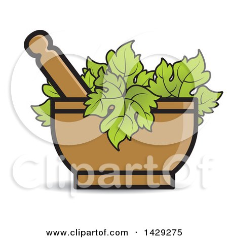 Clipart of a Mortar and Pestle with Leaves - Royalty Free Vector ...