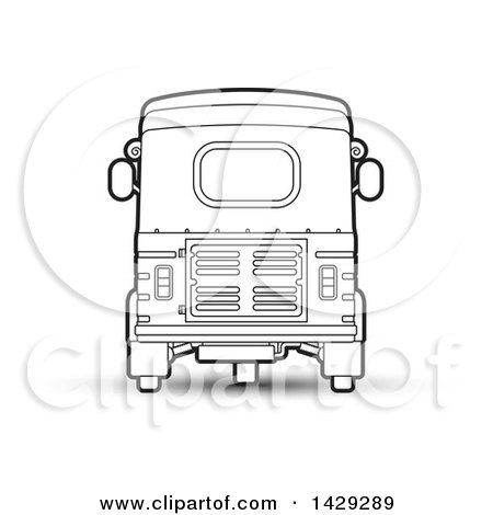 Clipart of a Black and White Rear View of a Three Wheeler Vehicle - Royalty Free Vector Illustration by Lal Perera