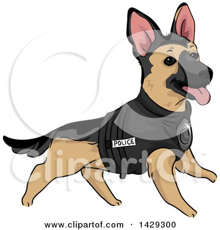 Clipart of a K9 Unite Police German Shepherd Dog in a Vest - Royalty Free Vector Illustration by BNP Design Studio