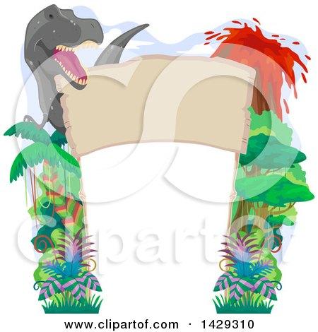 Clipart of a Tyrannosaurus Rex, Jungle and Volcano Border - Royalty Free Vector Illustration by BNP Design Studio