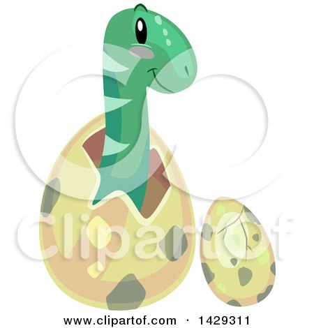 Clipart of Cute Brontosaurus Dinosaurs Hatching - Royalty Free Vector Illustration by BNP Design Studio