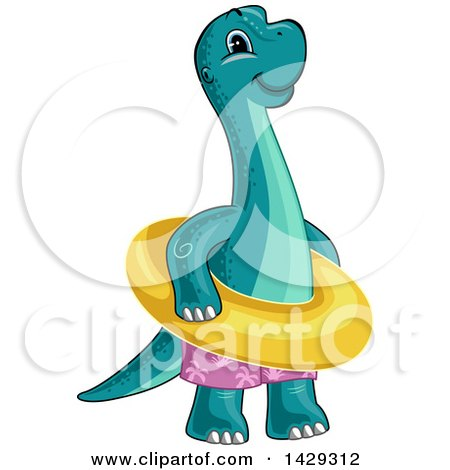 Clipart of a Cute Baby Brontosaurus Dinosaur Wearing Swim Trunks and an Inner Tube - Royalty Free Vector Illustration by BNP Design Studio