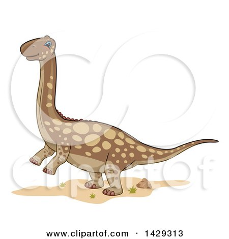 Clipart of a Cute Argentinosaurus Dinosaur - Royalty Free Vector Illustration by BNP Design Studio