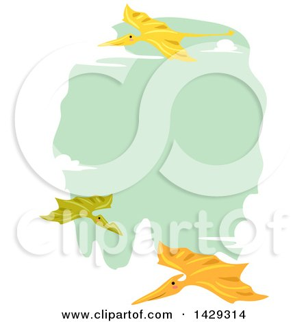 Clipart of a Border of Pterodactyls Flying Around Green - Royalty Free Vector Illustration by BNP Design Studio