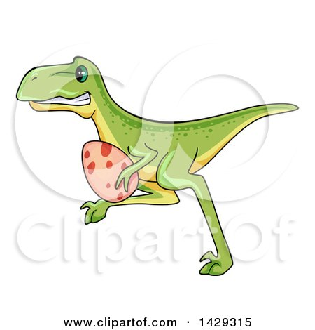 Clipart of a Cartoon Raptor Dinosaur Stealing an Egg| Royalty Free Vector Illustration by BNP Design Studio
