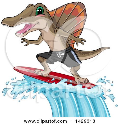 Clipart of a Spinosaurus Dinosaur Surfing a Big Wave - Royalty Free Vector Illustration by BNP Design Studio