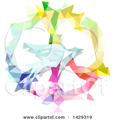 Clipart of a Colorful Geometric Peace Symbol and Dove - Royalty Free Vector Illustration by BNP Design Studio