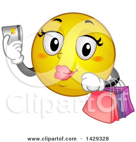 Cartoon Female Yellow Emoji Smiley Face Shopping With A