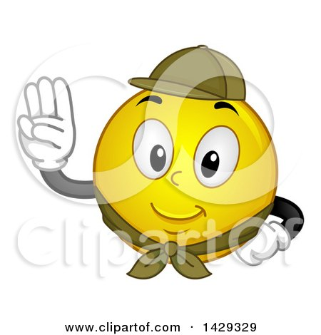 Clipart of a Cartoon Yellow Emoji Smiley Face Scout Pledging - Royalty Free Vector Illustration by BNP Design Studio