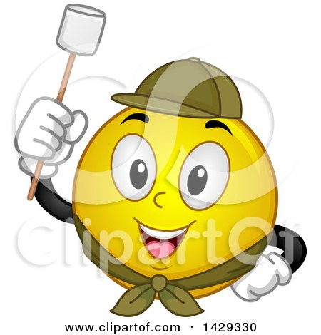 Clipart of a Cartoon Yellow Emoji Smiley Face Scout Ready to Roast a Marshmallow - Royalty Free Vector Illustration by BNP Design Studio