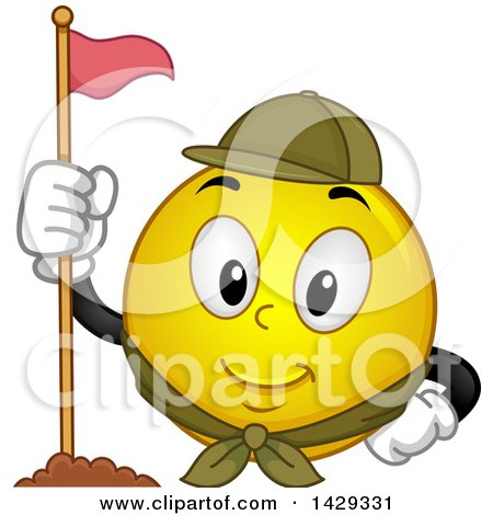Clipart of a Cartoon Yellow Emoji Smiley Face Scout with a Flag - Royalty Free Vector Illustration by BNP Design Studio