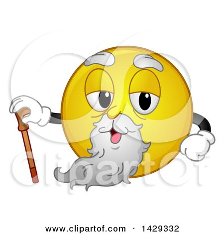 Clipart of a Cartoon Yellow Emoji Smiley Face Old Man with a Cane - Royalty Free Vector Illustration by BNP Design Studio