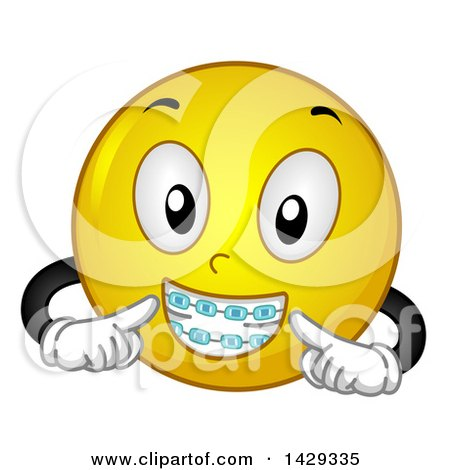 clipart of a cartoon yellow emoji smiley face wearing