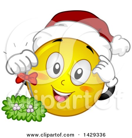 Clipart of a Cartoon Yellow Emoji Smiley Face Wearing a ...