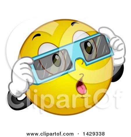 photograph about Printable Solar Eclipse Glasses named Cartoon Yellow Emoji Smiley Confront Carrying Eclipse Gles