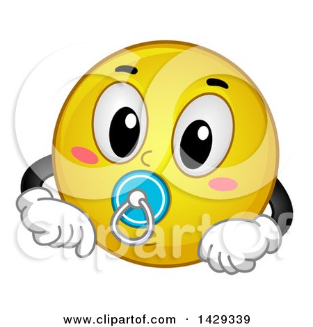 Cartoon Yellow Emoji Smiley Face Baby With A Pacifier Poster Art Print 1429339 on Interior Design College