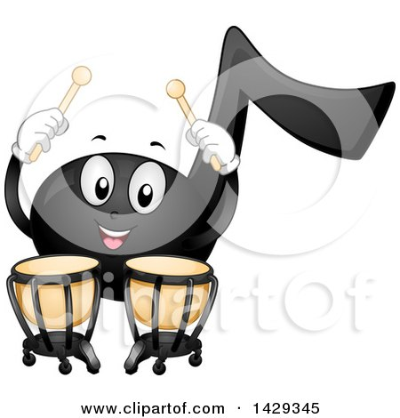 Clipart of a Black Music Note Mascot Playing Timpani Kettledrums - Royalty Free Vector Illustration by BNP Design Studio