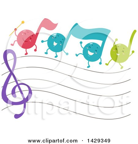 Clipart of a Group of Music Note Mascots Marching over a Staff - Royalty Free Vector Illustration by BNP Design Studio