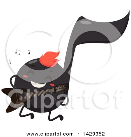 Clipart of a Black Music Note Mascot Playing an Electric Guitar - Royalty Free Vector Illustration by BNP Design Studio