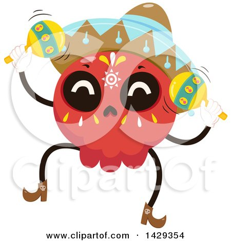 Clipart of a Mexican Sugar Skull Mariachi Playing Maracas - Royalty Free Vector Illustration by BNP Design Studio