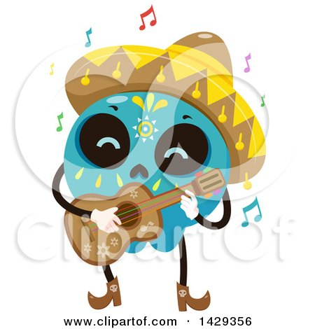 Clipart of a Mexican Sugar Skull Mariachi Guitarist - Royalty Free Vector Illustration by BNP Design Studio