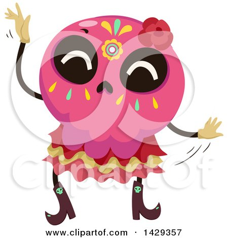 Clipart of a Mexican Sugar Skull Dancing - Royalty Free Vector Illustration by BNP Design Studio