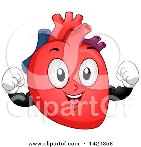 Clipart of a Flexing Heart Organ Mascot - Royalty Free Vector Illustration by BNP Design Studio