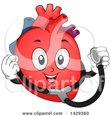 Clipart of a Happy Heart Organ Mascot Holding a Stethoscope - Royalty Free Vector Illustration by BNP Design Studio