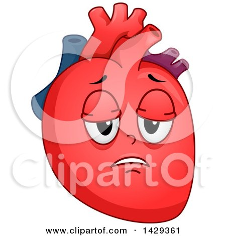 Clipart of a Tired Heart Organ Mascot - Royalty Free Vector Illustration by BNP Design Studio