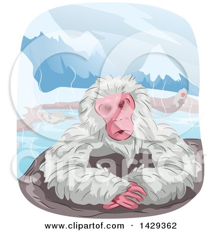 Clipart of a Japanese Macaque Monkey Relaxing in a Hot Spring Bath - Royalty Free Vector Illustration by BNP Design Studio